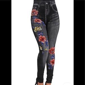 Denim-Like Stretch Leggings, Floral Print Sm/Med